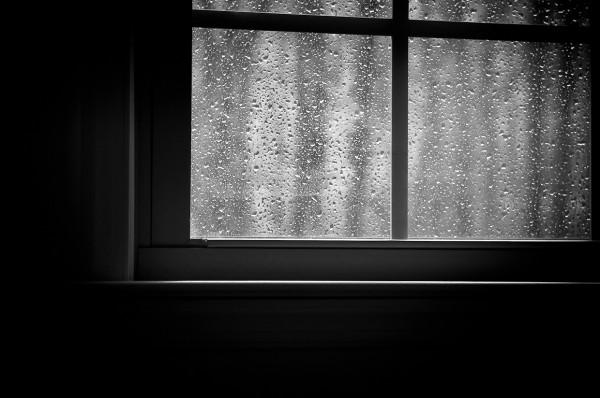 photograph of rain on the window glass