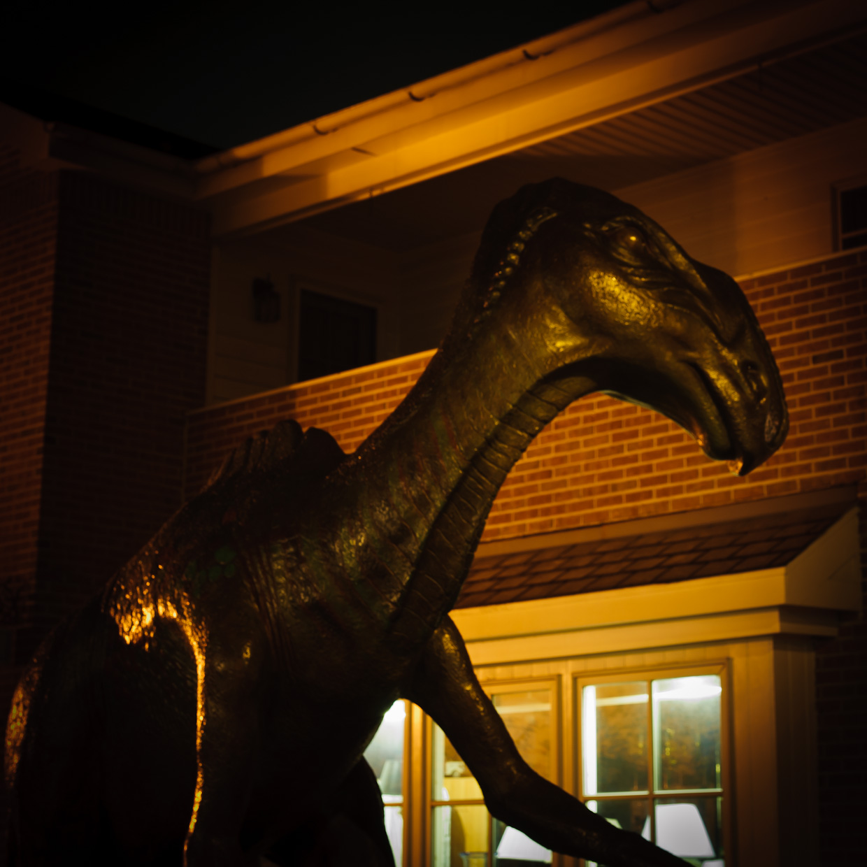 Dinosaur at Night in Haddonfield NJ