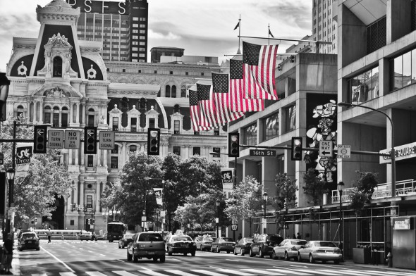 Flags city hall Philadelphia Pa