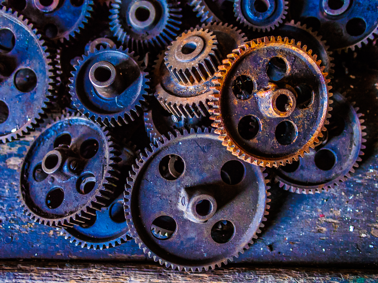 Photo of gears at silk mill