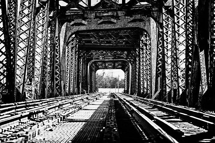Photograph of a old railroad bridge