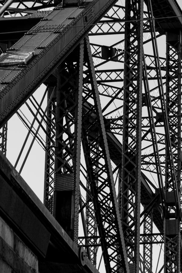 Bridge girders b and w photo