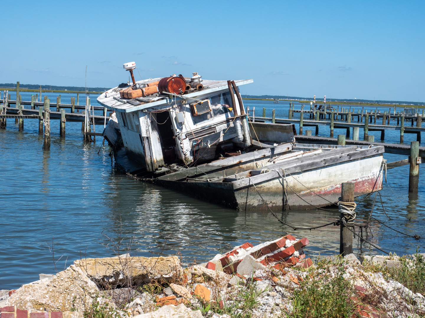 Color Photograph of a sunken boat on Chincoteague Island