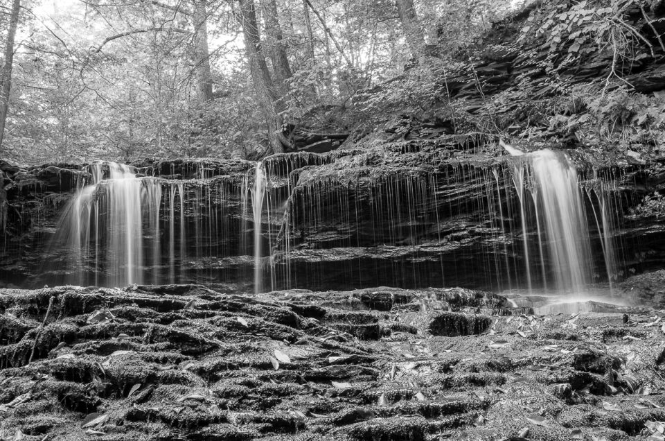 monochrome water falls