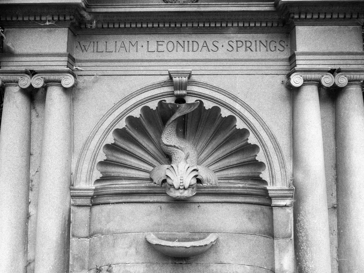 Water fountain monochrome photograph